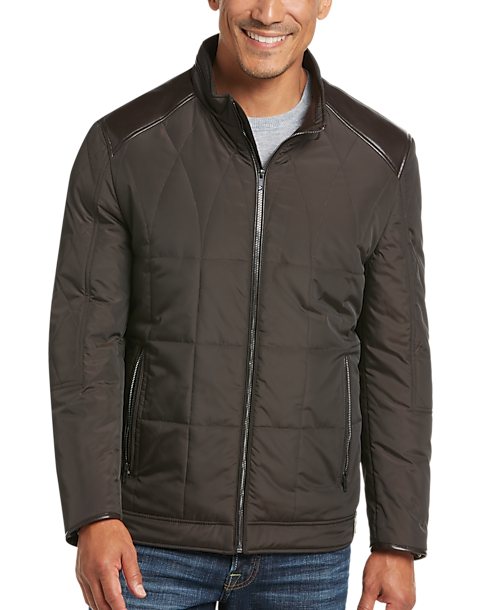 Pronto Uomo Florence Brown Modern Fit Quilted Jacket - Men's ... : mens brown quilted jacket - Adamdwight.com