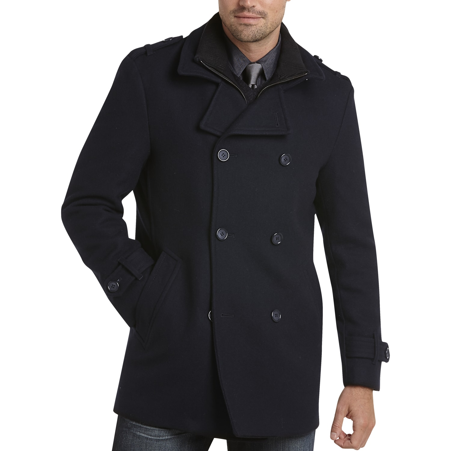 Egara Dark Navy Modern Fit Wool Peacoat - Men's Peacoats | Men's ...