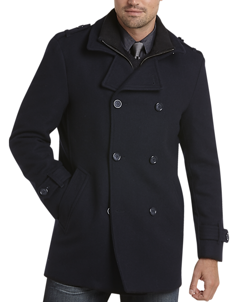 Egara Dark Navy Modern Fit Wool Peacoat - Men's Peacoats | Men's ...