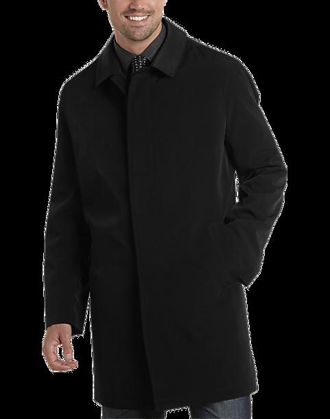 Black Classic Fit Raincoat Mens Outerwear Joseph Abboud Mens