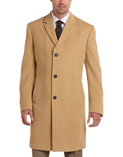 Joseph Abboud Camel Cashmere Blend Modern Fit Topcoat - Men's ...