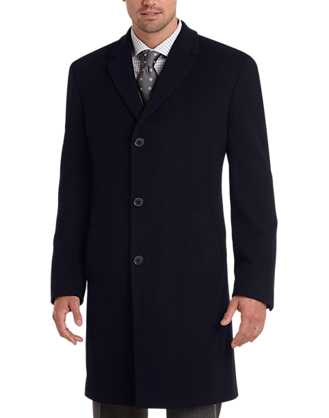 Joseph Abboud Navy Cashmere Blend Modern Fit Topcoat by Mens Wearhouse