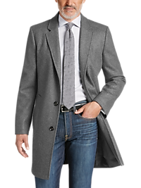 Egara Men's Medium Gray Slim Fit Topcoat