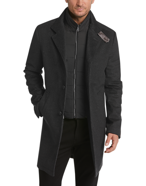 JOE Joseph Abboud Charcoal Modern Fit Car Coat (Dark Charcoal)