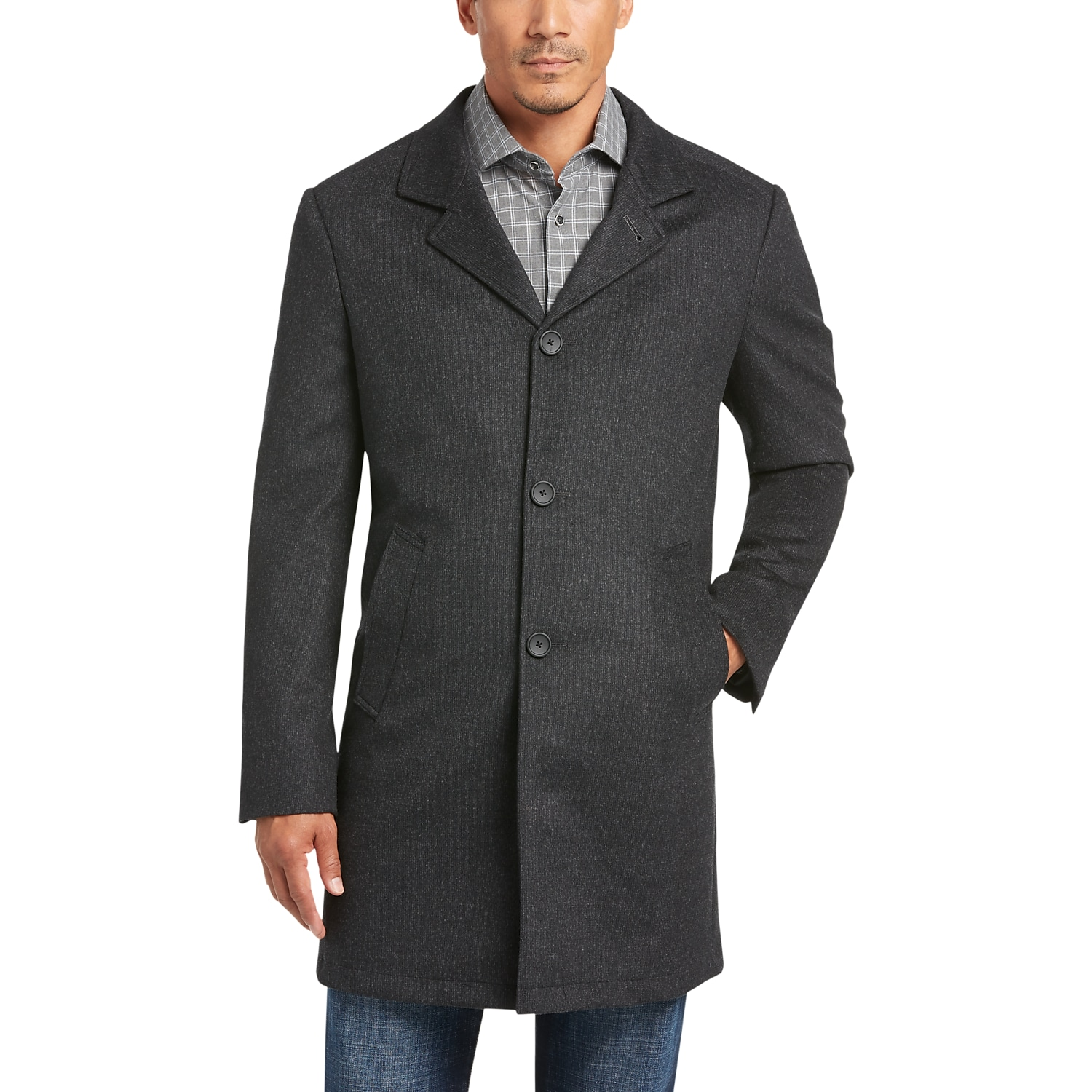 e17cf7d454e85 Mens Home - JOE Joseph Abboud Charcoal Tic Modern Fit Car Coat - Men s  Wearhouse