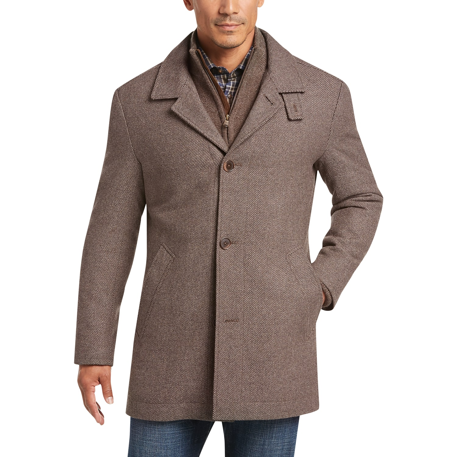 f8a5c908070b Mens Outerwear - Joseph Abboud Tan Modern Fit Twill Car Coat - Men s  Wearhouse