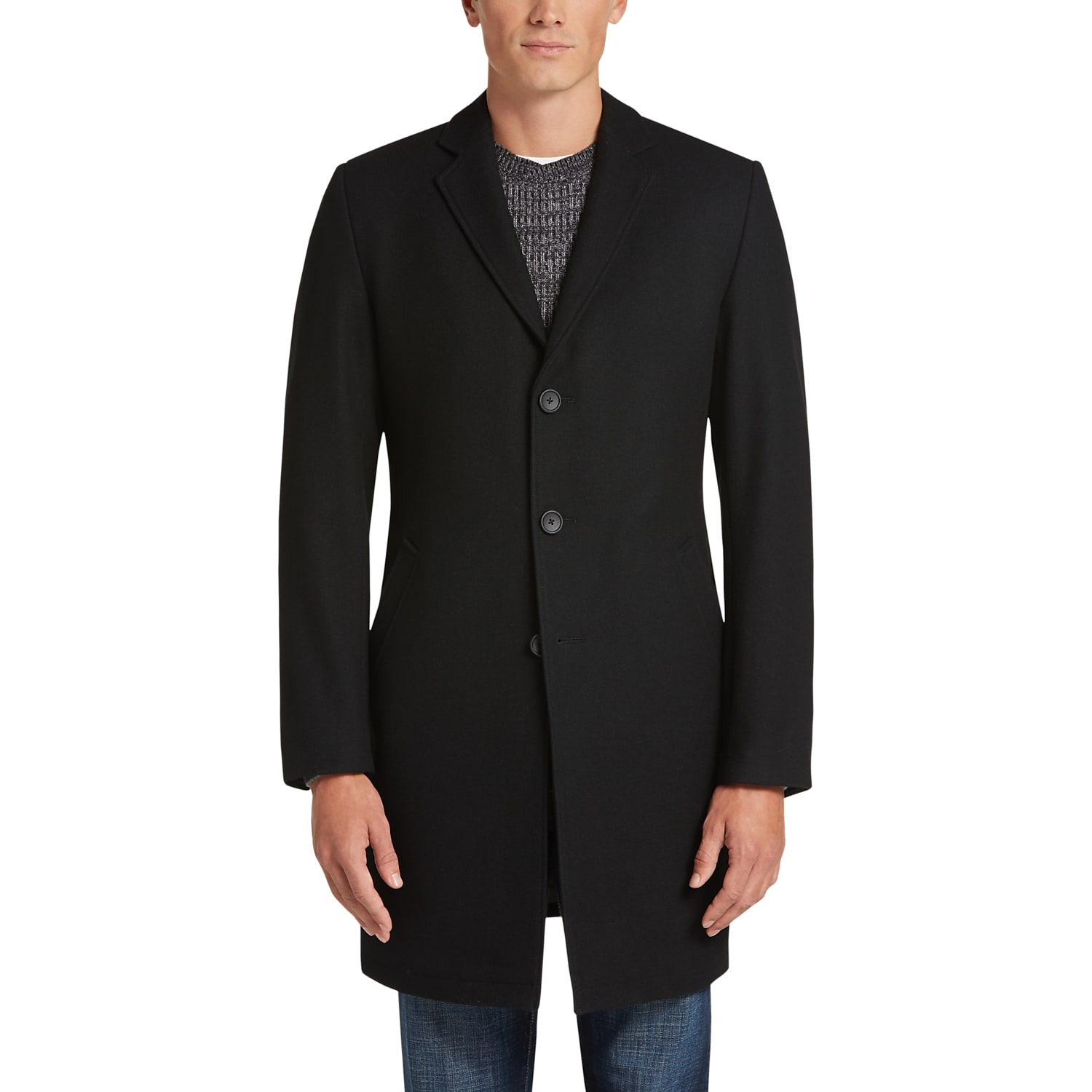 Mens Topcoats, Outerwear - Awearness Kenneth Cole AWEAR-TECH Black Topcoat  - Men's Wearhouse
