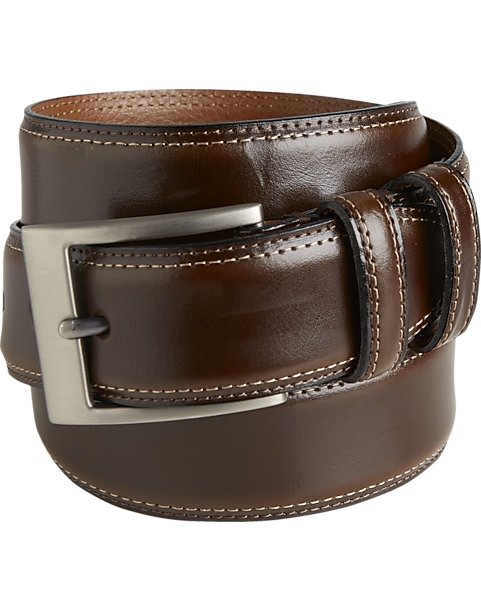 2a2f5d436f0ba Joseph Abboud Brown Stitched Edge Belt - Men s Shoes