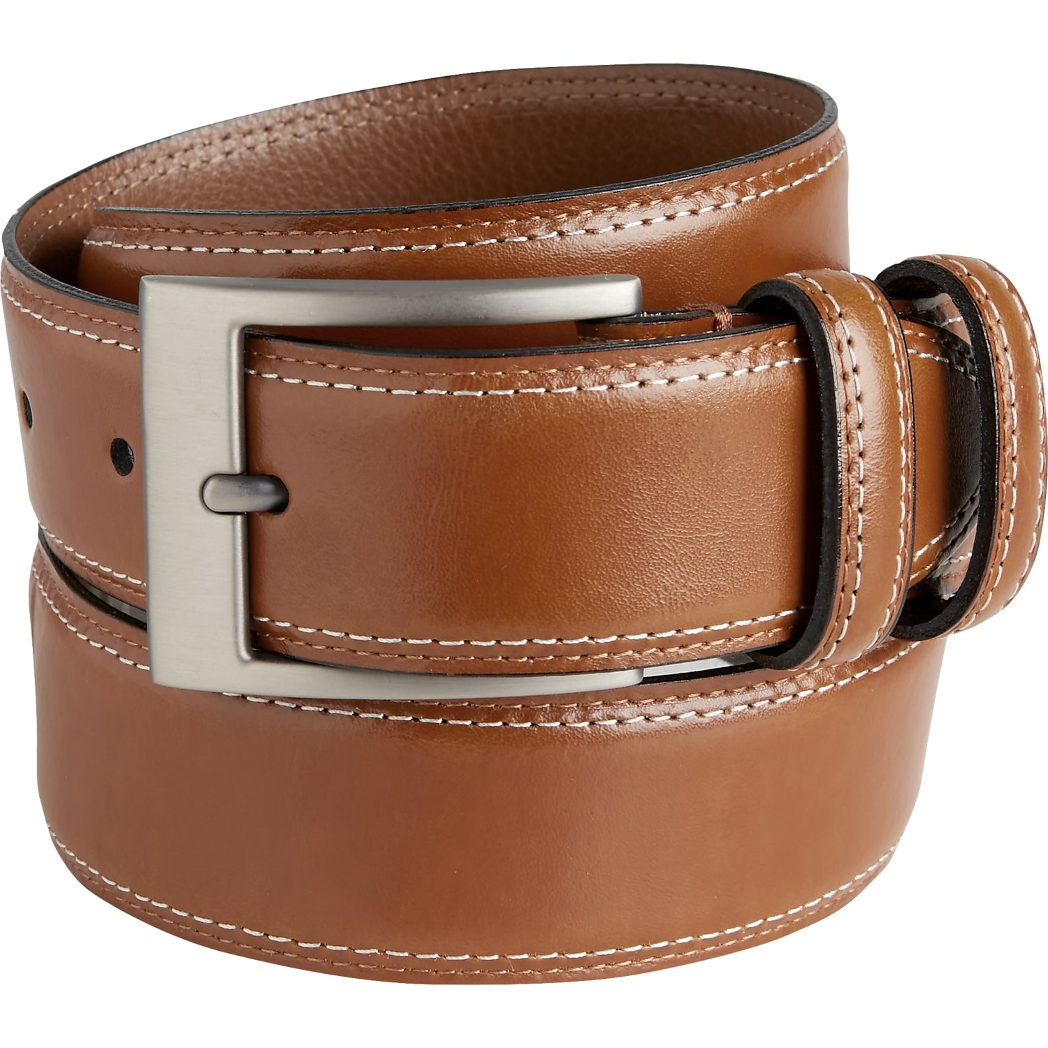 9511559e626c Mens Big   Tall - Joseph Abboud Cognac Stitched Edge Belt - Men s Wearhouse