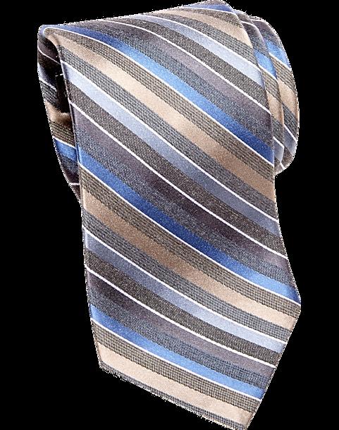 5c81126ec262 Awearness Kenneth Cole Blue & Taupe Stripe Narrow Tie - Men's ...