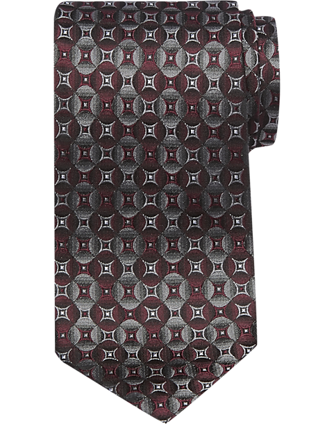 cb88c5cf2dc0 Pronto Uomo Burgundy Geometric Narrow Tie - Mens Home - Men's Wearhouse