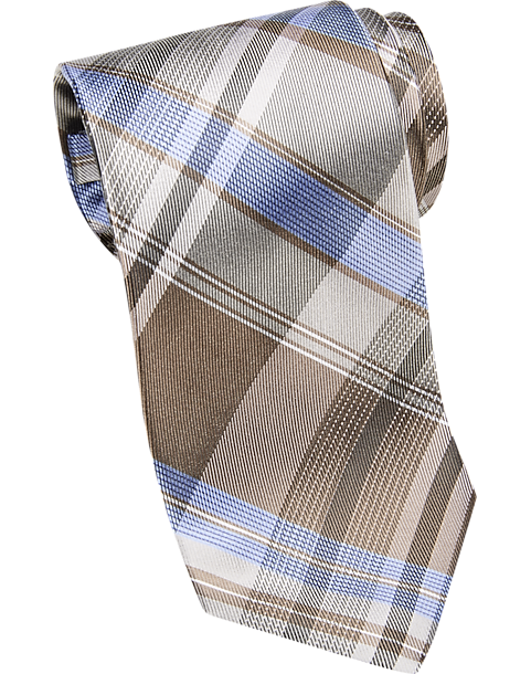 Calvin Klein Taupe Plaid Extra Long Narrow Tie - Men\'s Extra Long ...