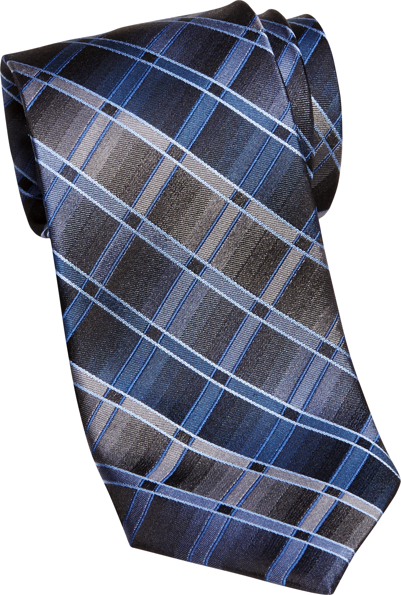 Pronto Uomo Blue Diamond Check Narrow Tie (Blue)