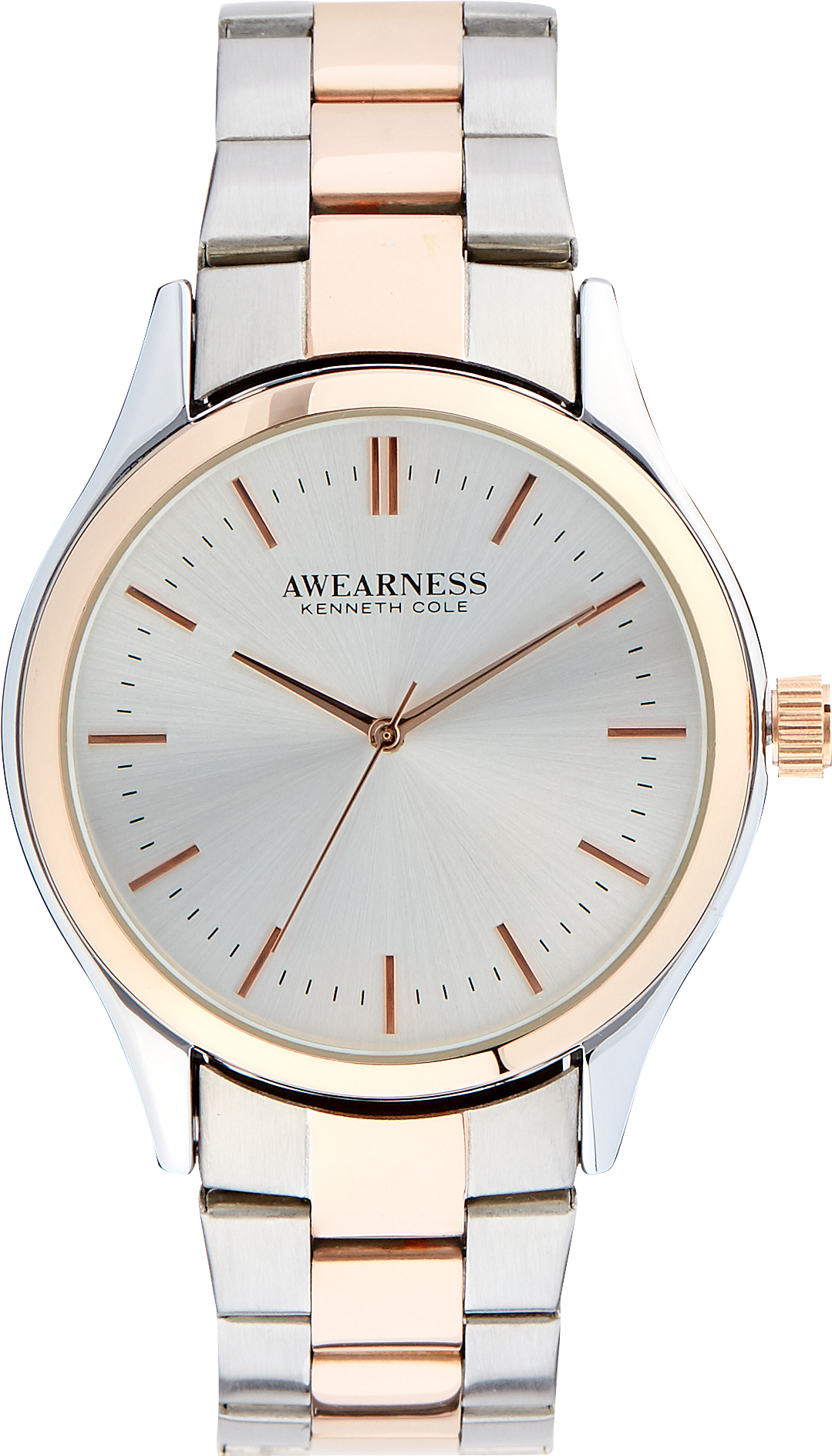 Awearness Kenneth Cole Silver Rose Gold Watch Mens Jewelry and