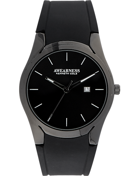 Awearness Kenneth Cole Smooth Rubber Watch (Black)