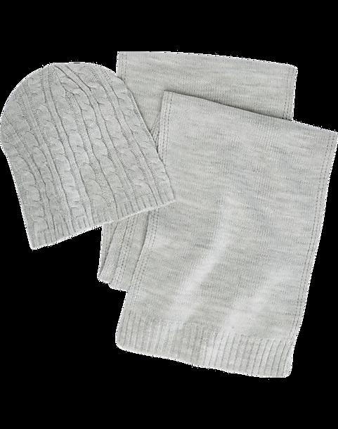 Egara Gray Cable-Knit Hat   Scarf Set - Men s  b78fb1a1f75
