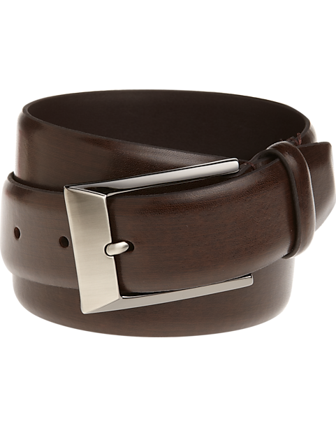 Mens Wearhouse Brown Leather Belt with Brushed Metal Buckle