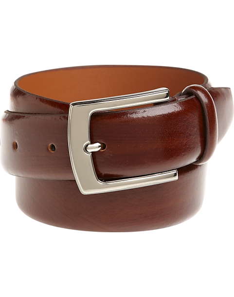 a37f60e6b73 Men's Wearhouse Cognac Brown Leather Belt with Chrome Buckle