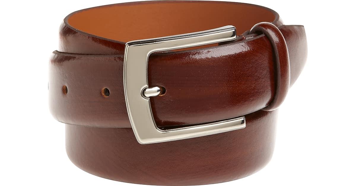 4d37e29baef Men's Wearhouse Cognac Brown Leather Belt with Chrome Buckle - Men's Shoes    Men's Wearhouse