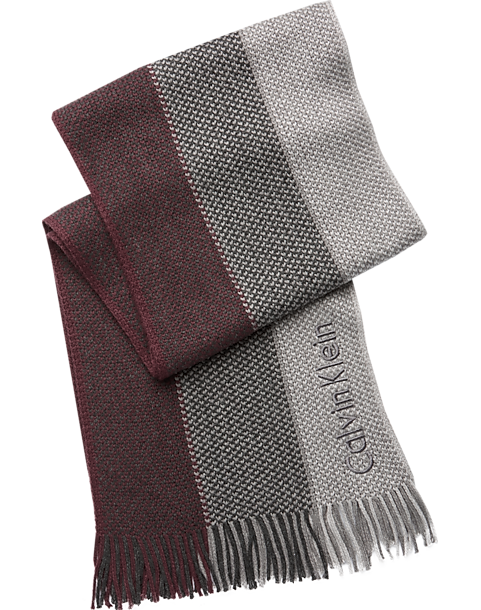6f7746dbdd4a Calvin Klein Burgundy   Gray Ombre Scarf - Mens Accessories