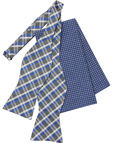 0d798866681d Tommy Hilfiger Gray & Blue Bow Tie & Pocket Square Set - Mens Pocket  Squares,