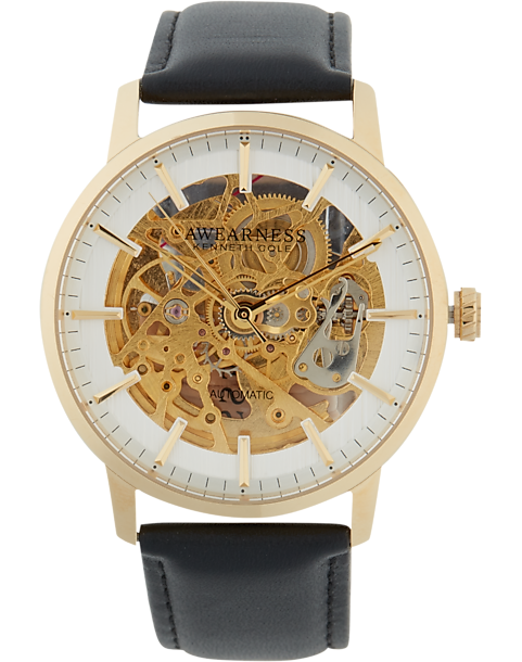 0e384e171227 Awearness Kenneth Cole Gold   Black Strap Skeleton Watch - Men s ...
