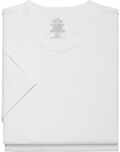 2-Pack Calvin Klein White Crew Neck Cotton Stretch Tee Shirt (White / Black)