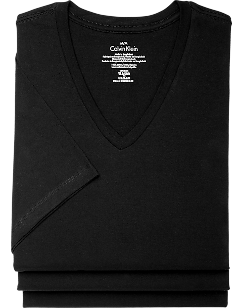 ddb34e30e Calvin Klein Black V-Neck Classic Fit Tee Shirt, 3-Pack - Men's ...