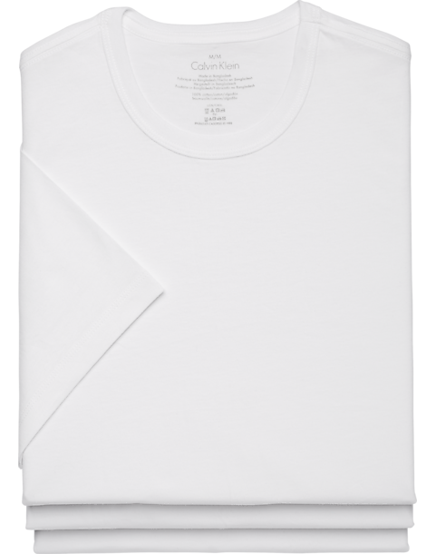 ade6558b1 Calvin Klein White Crew Neck Cotton Classic Tee Shirt, 3-Pack ...
