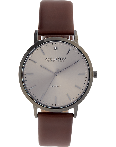 402f776388f6 Awearness Kenneth Cole Gray   Brown Leather Band Watch - Men s ...