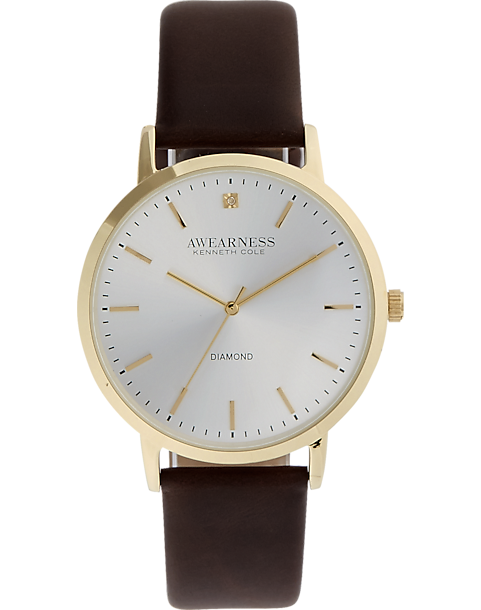 Awearness Kenneth Cole Gold   Brown Leather Band Watch - Men s ... 4efcb9c91