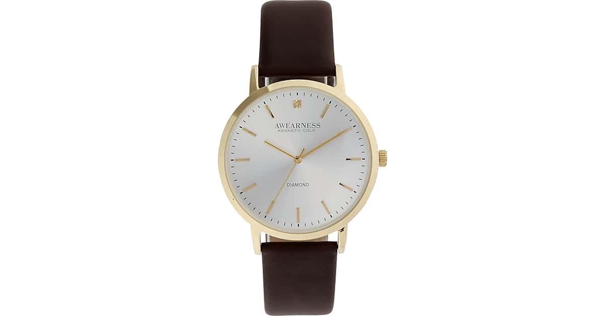 25f5611a9964 Awearness Kenneth Cole Gold   Brown Leather Band Watch - Men s Accessories