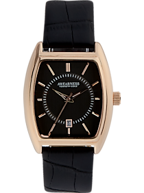 Awearness Kenneth Cole Rose Gold & Black Leather Band Watch