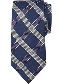 Joseph Abboud Navy Windowpane Narrow Tie