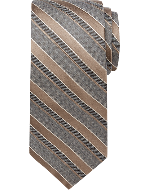 joseph abboud taupe stripe narrow tie s regular