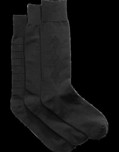 Joseph Abboud Black Mixed Pattern Socks (Three-Pack) - Men\'s Joseph ...