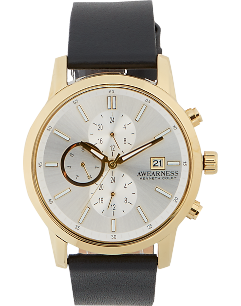 9e99d7e77ef Awearness Kenneth Cole Gold   Black Leather Watch - Men s ...