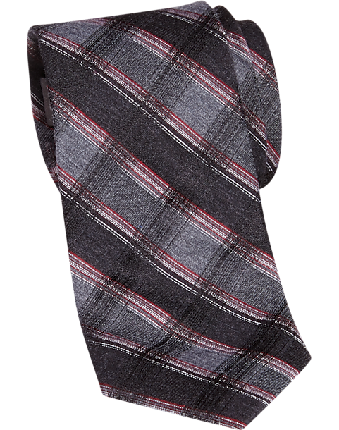 ef9b5743a88f Calvin Klein Red and Charcoal Plaid Skinny Extra Long Tie - Men's ...