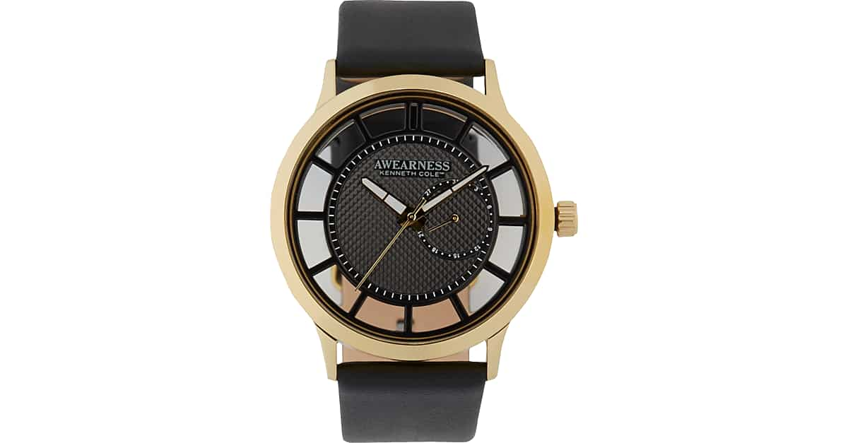 61d83c19345f Awearness Kenneth Cole Gold   Black Leather Band Watch - Men s Gifts by  Price