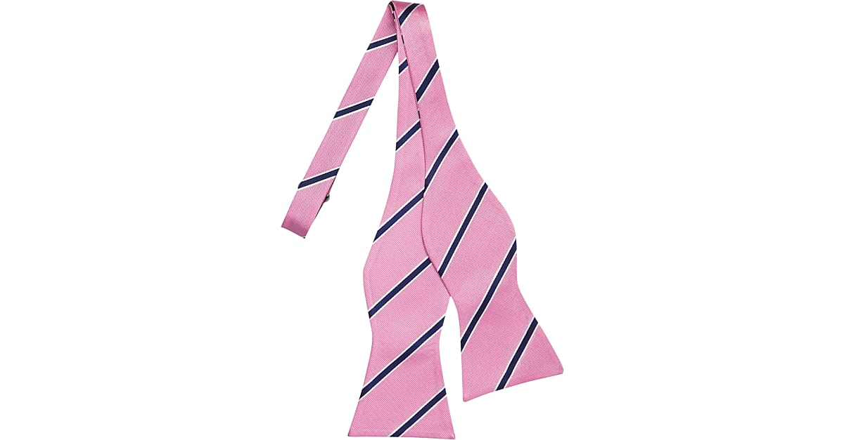 a41bc04cd Tommy Hilfiger Pink & Navy Stripe Bow Tie - Men's Accessories | Men's  Wearhouse
