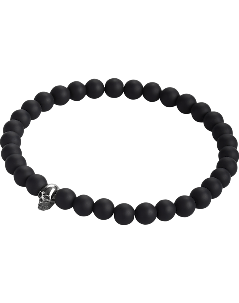 silver bracelet pin maxshock and hematite beads black handmade mens with onyx