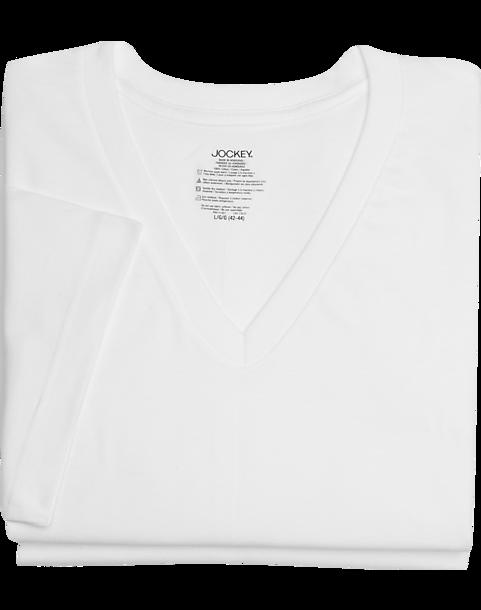 2fb68161 Jockey White V-Neck T-Shirt (Two-Pack) - Men's Accessories | Men's Wearhouse