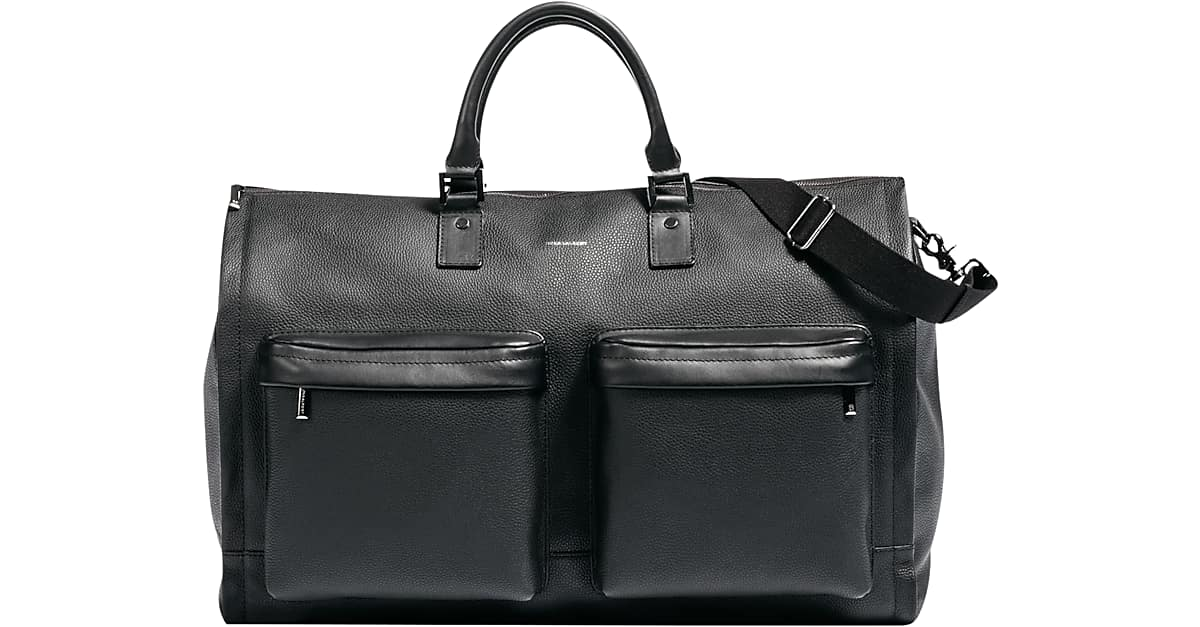 Hook   Albert Black Leather Garment Weekender Bag - Men s  8eec42d48c369