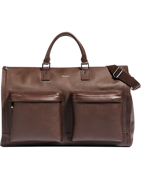 Hook & Albert Brown Leather Garment Weekender Bag by Hook And Albert