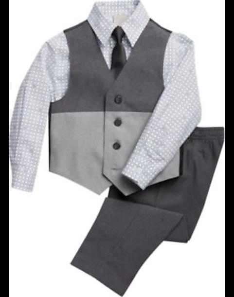Kenneth Cole Reaction Toddler Boys Vest Pant Shirt Set Gray