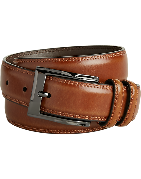 b2b71cf365c Men's Wearhouse Cognac Stitch Edge Leather Belt