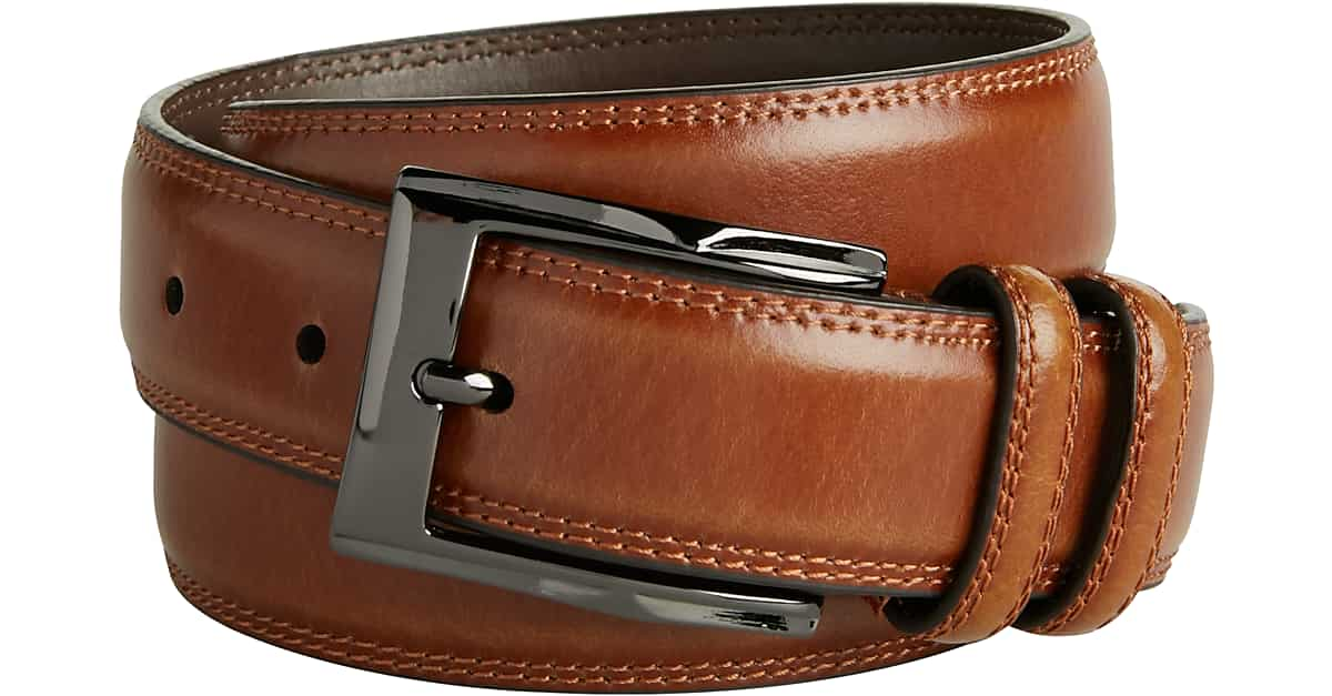 56e83182c7c Men's Wearhouse Cognac Stitch Edge Leather Belt - Men's Accessories | Men's  Wearhouse