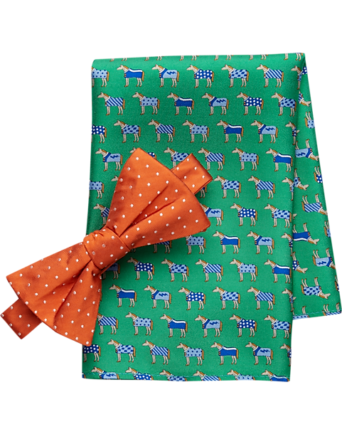 4e4c81cca2ea Tommy Hilfiger Orange & Green Pocket Square & Bow Tie Set - Men's ...