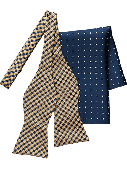 Tommy Hilfiger Pocket Square /& Bow Tie Rust