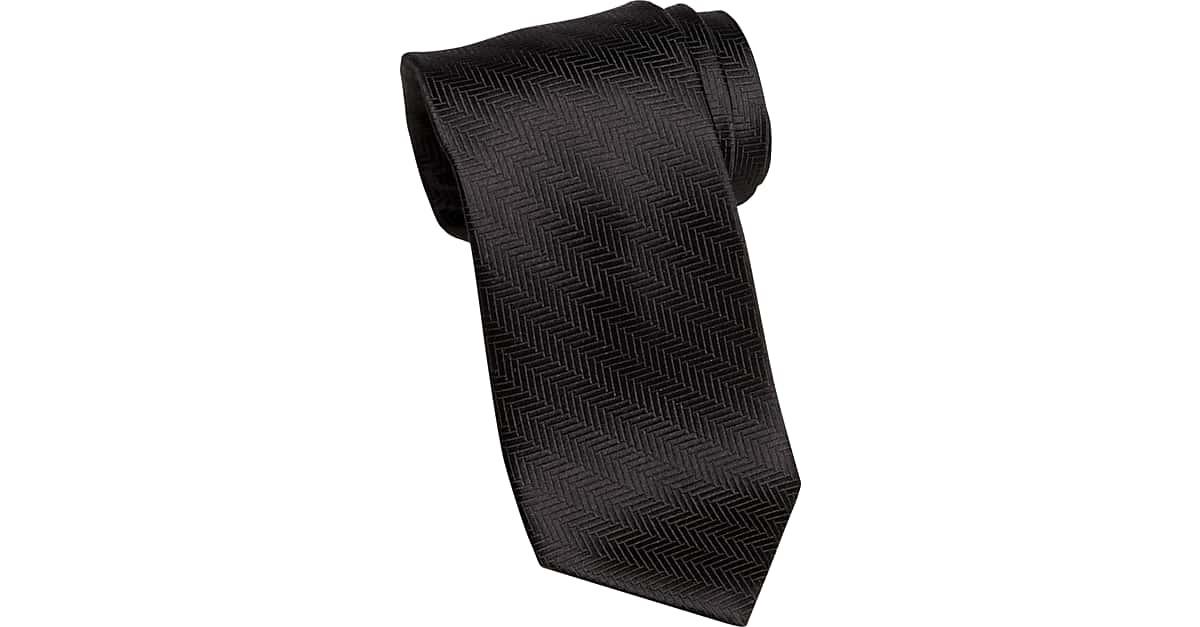 9000ef210 Joseph Abboud Black Herringbone Narrow Tie - Men s Regular Length Ties
